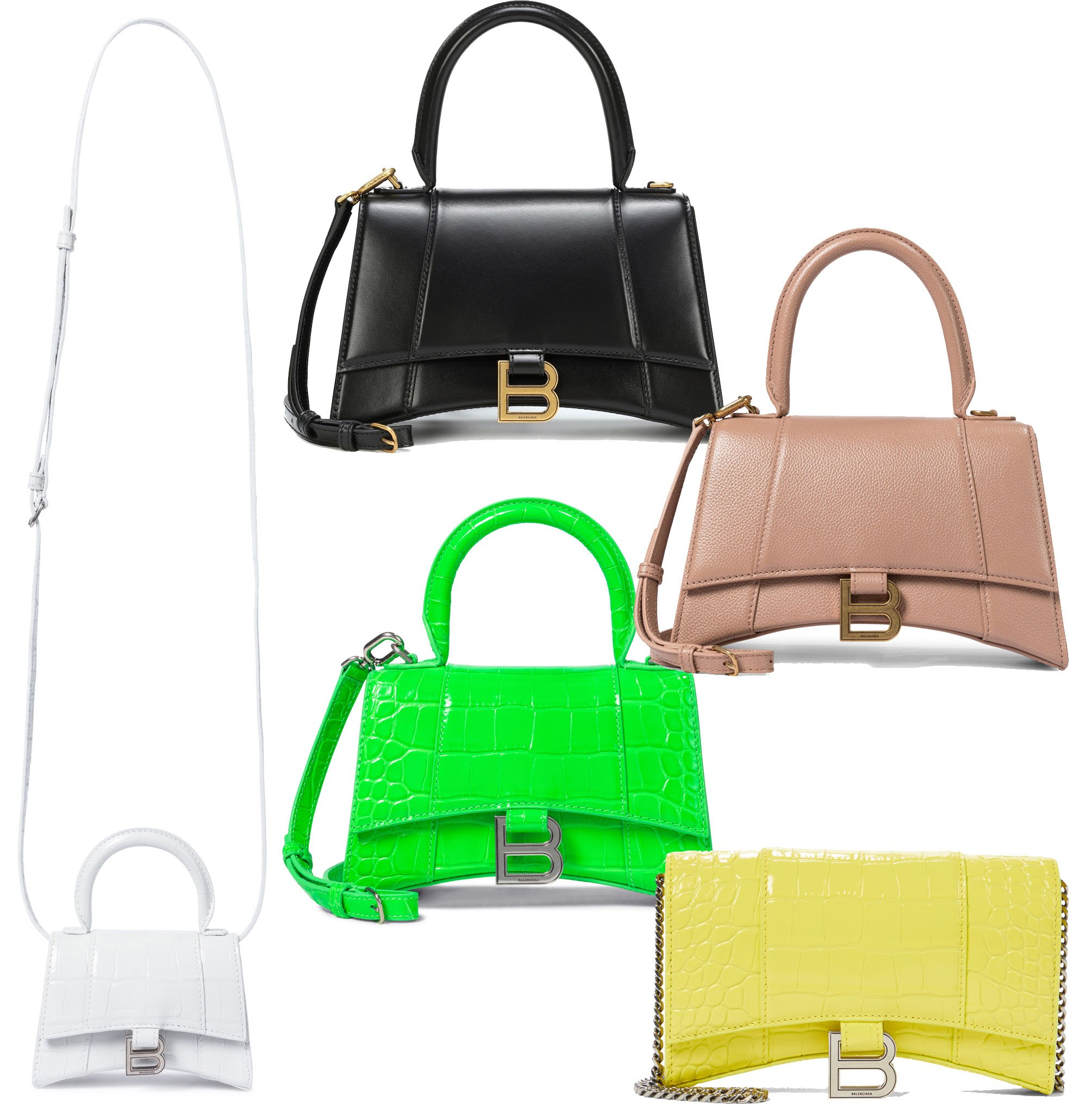 The Hourglass bag from Balenciaga takes its name from its sharp structural hourglass silhouette