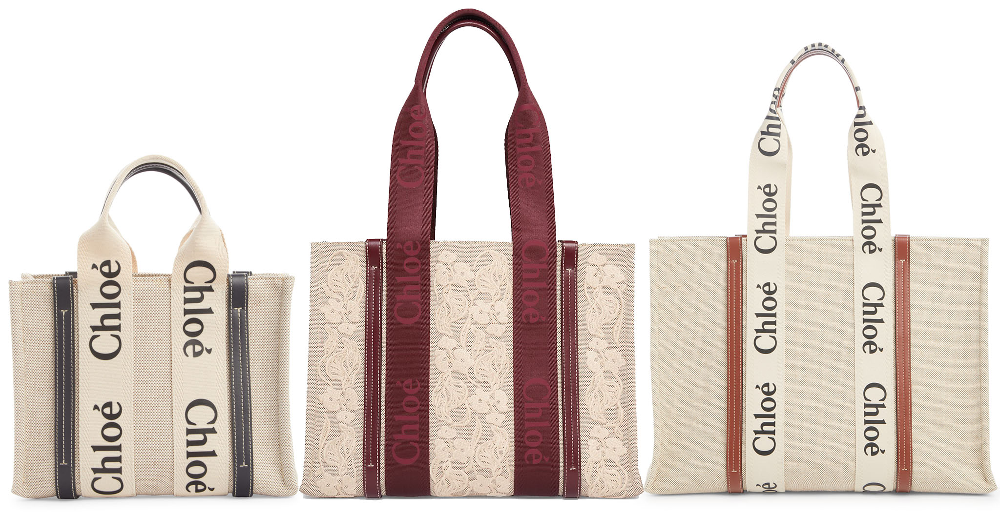 Chloe's Woody tote is a practical yet trendy bag made of neutral canvas with leather trims