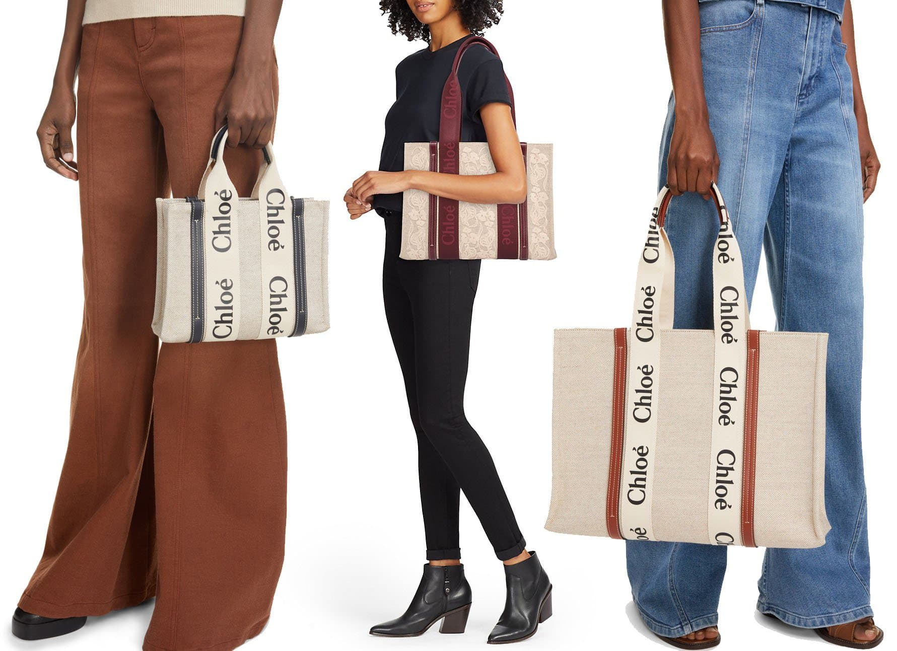 The Woody tote features a boxy silhouette and logo-adorned webbing straps