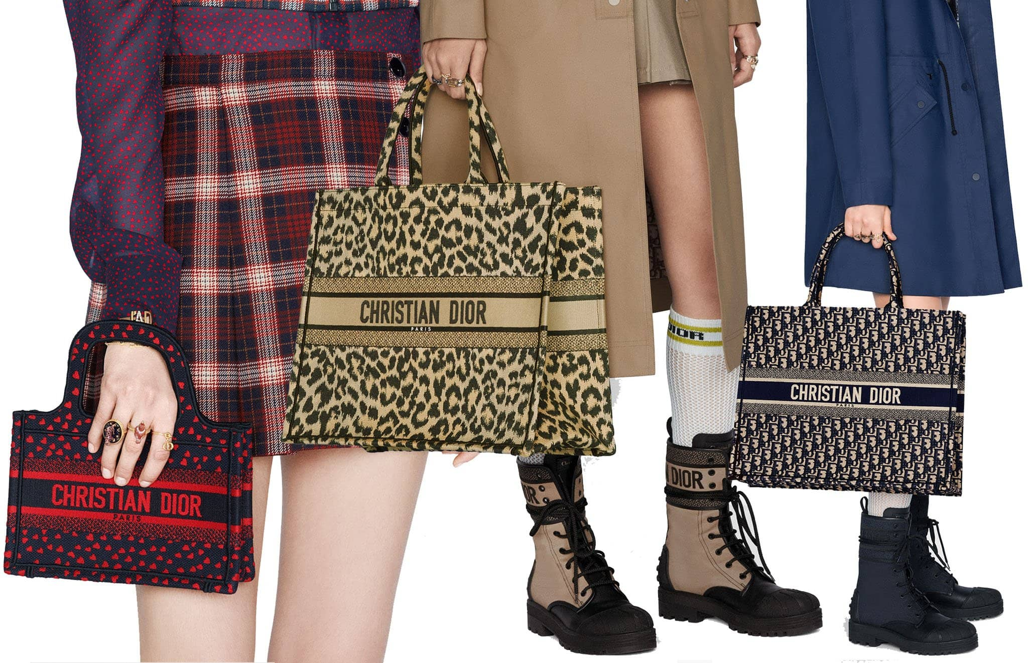 Designed to hold all the daily essentials, the Book tote comes in several variations, including I Love Paris and leopard-print designs