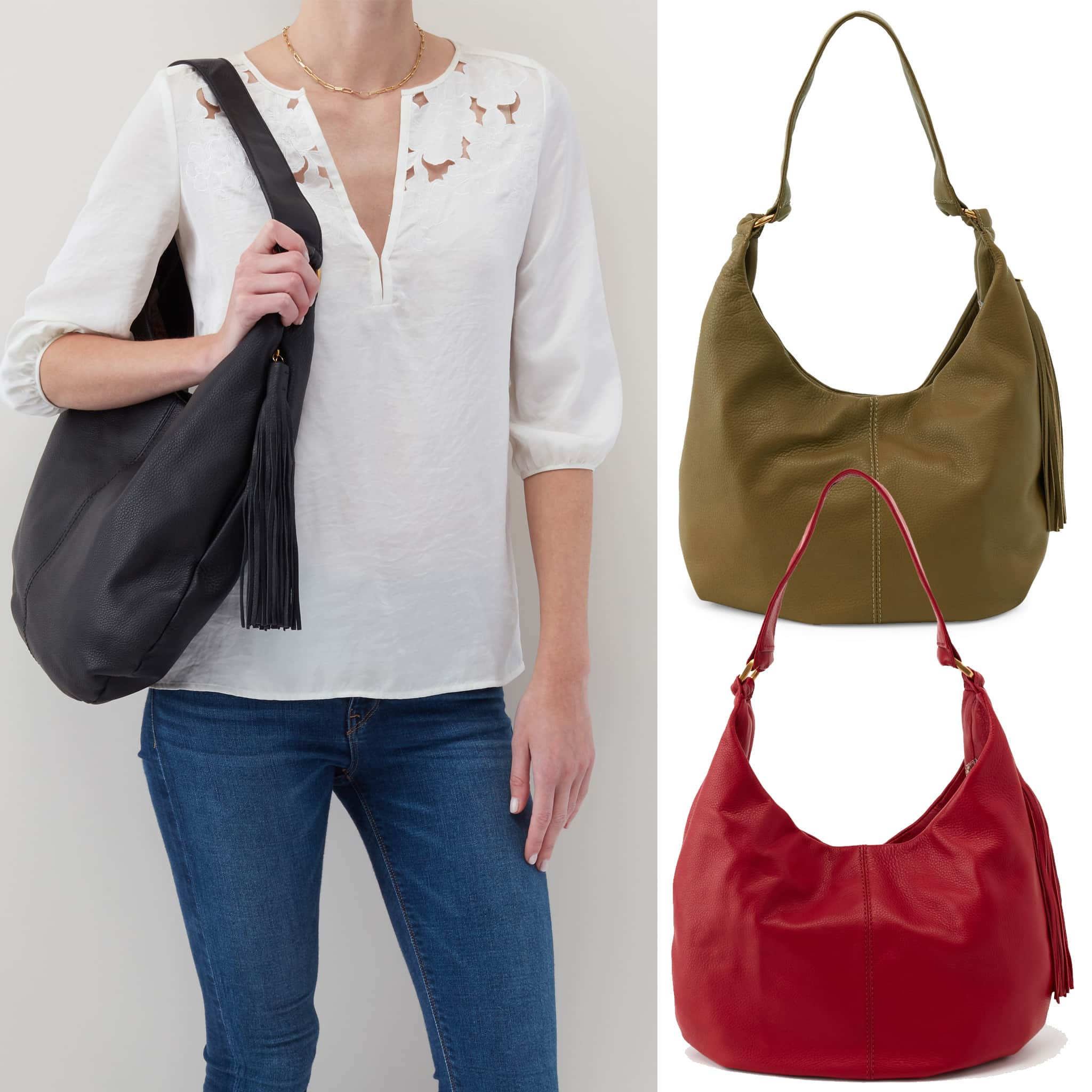 Hobo's Gardner hobo bag goes with anything and offers a large interior compartment