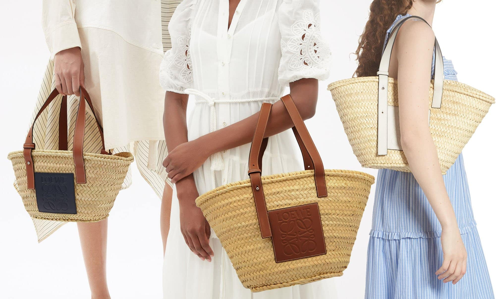 Available in different sizes, the Loewe basket bag features woven palm leaves with leather trims and an Anagram patch