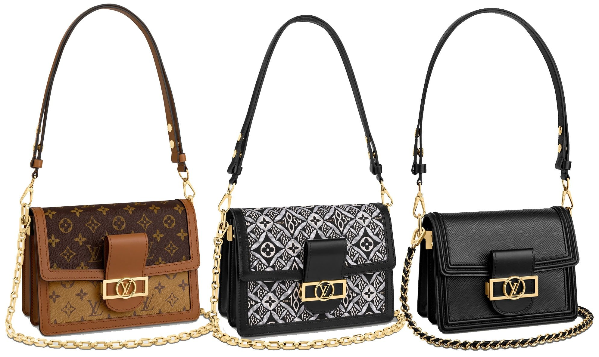 The Dauphine bag is considered the latest it bag and is updated with a chain strap and a magnetized lock