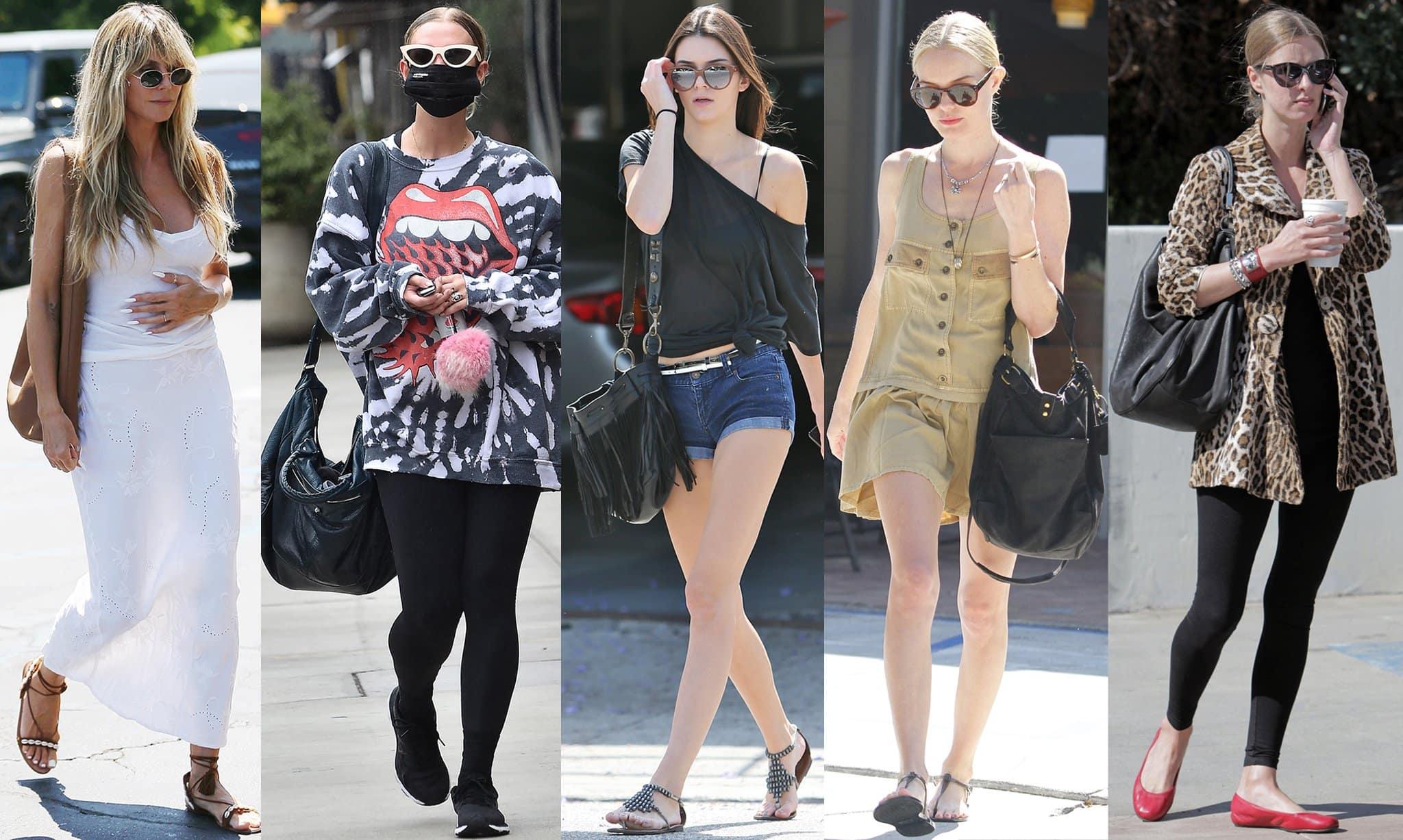 Heidi Klum, Ashlee Simpson, Kendall Jenner, Kate Bosworth, and Nicky Hilton carrying hobo bags