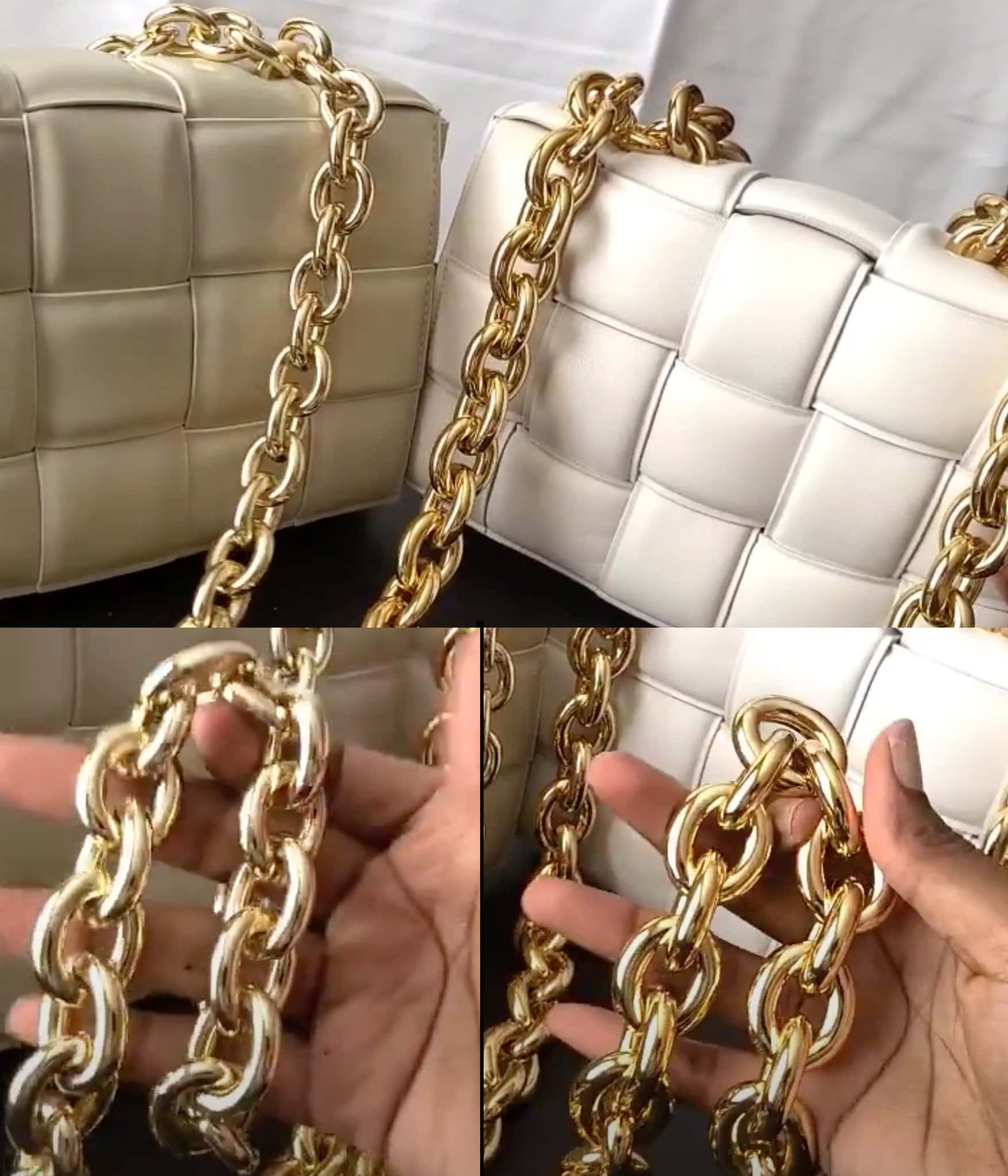 A fake Bottega Veneta bag (left) has a lighter chain strap, in terms of both shade and weight, while a real Bottega Veneta bag (right) has a bright and heavy chain strap