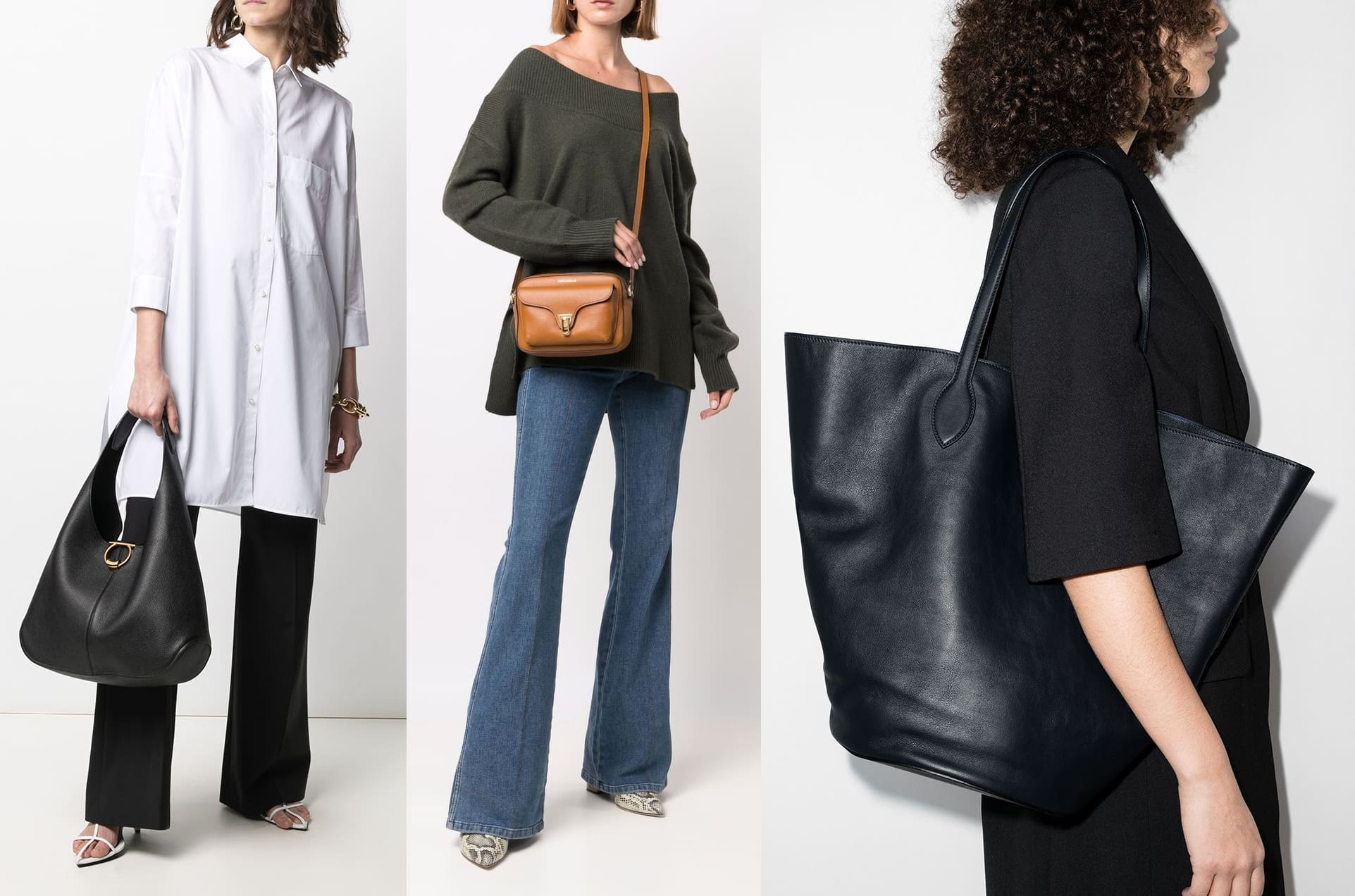 Hobo bags have a slouchy silhouette and are usually worn using a thick shoulder strap; satchels are often carried in multiple ways, either by the top handle or crossbody strap; totes have a structured silhouette and usually come with double handles
