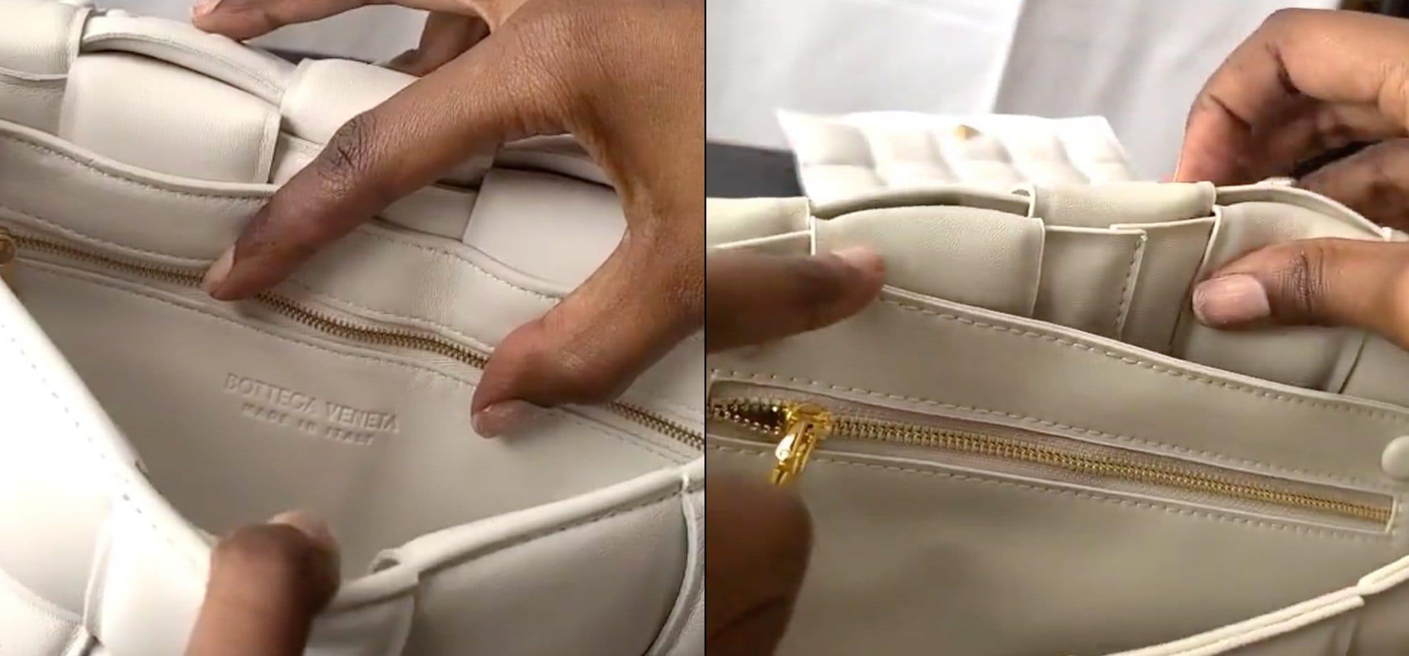 Real Bottega Veneta bags have an interior brand stamp that says Bottega Veneta Made in Italy, which is usually missing on fake Bottega Veneta bags