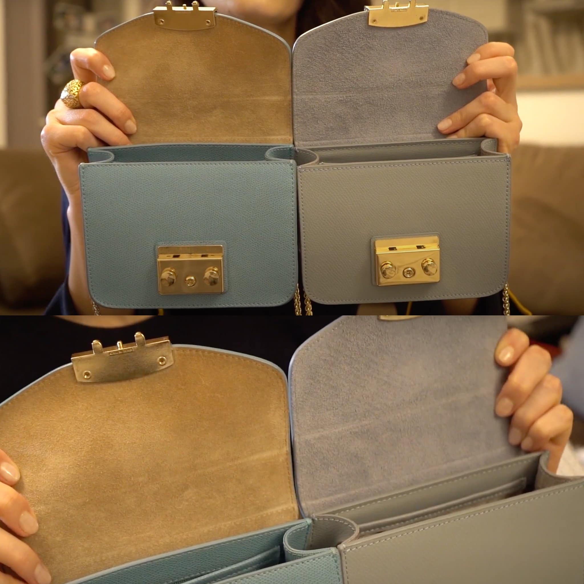 The interior of the fake Furla bag (right) isn't as soft as the genuine suede interior on the real Furla bag (left)
