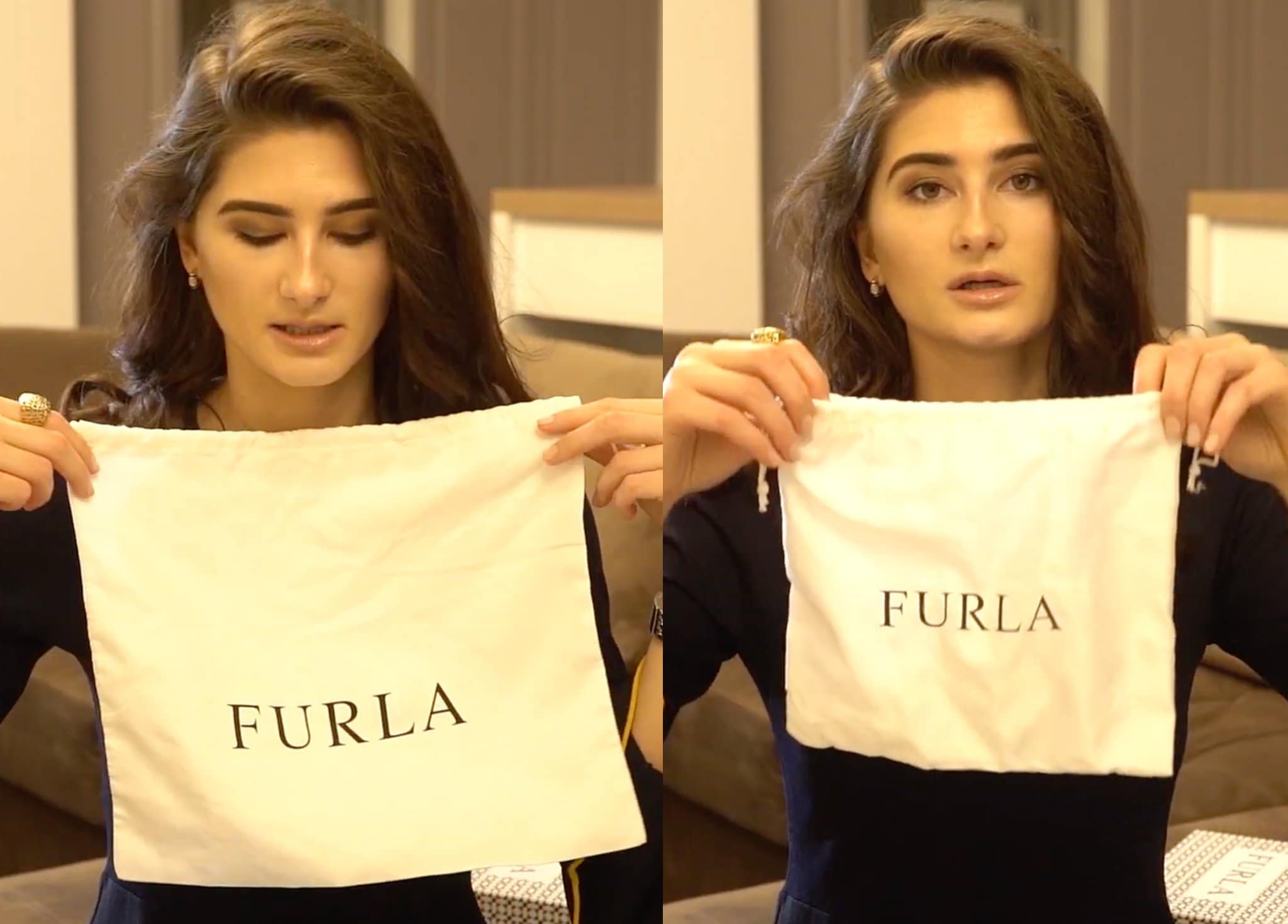 A real Furla dust bag (left) is soft and has the correct size, while a fake Furla dust bag (right) doesn't feel premium and doesn't fit well with the bag