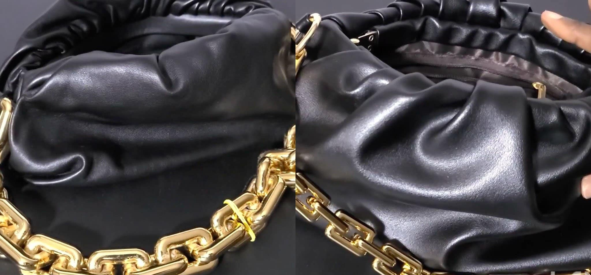 A real Bottega Veneta bag (left) is made of thick yet buttery-soft leather, while a fake Bottega Veneta bag (right) uses low-quality fake leather material