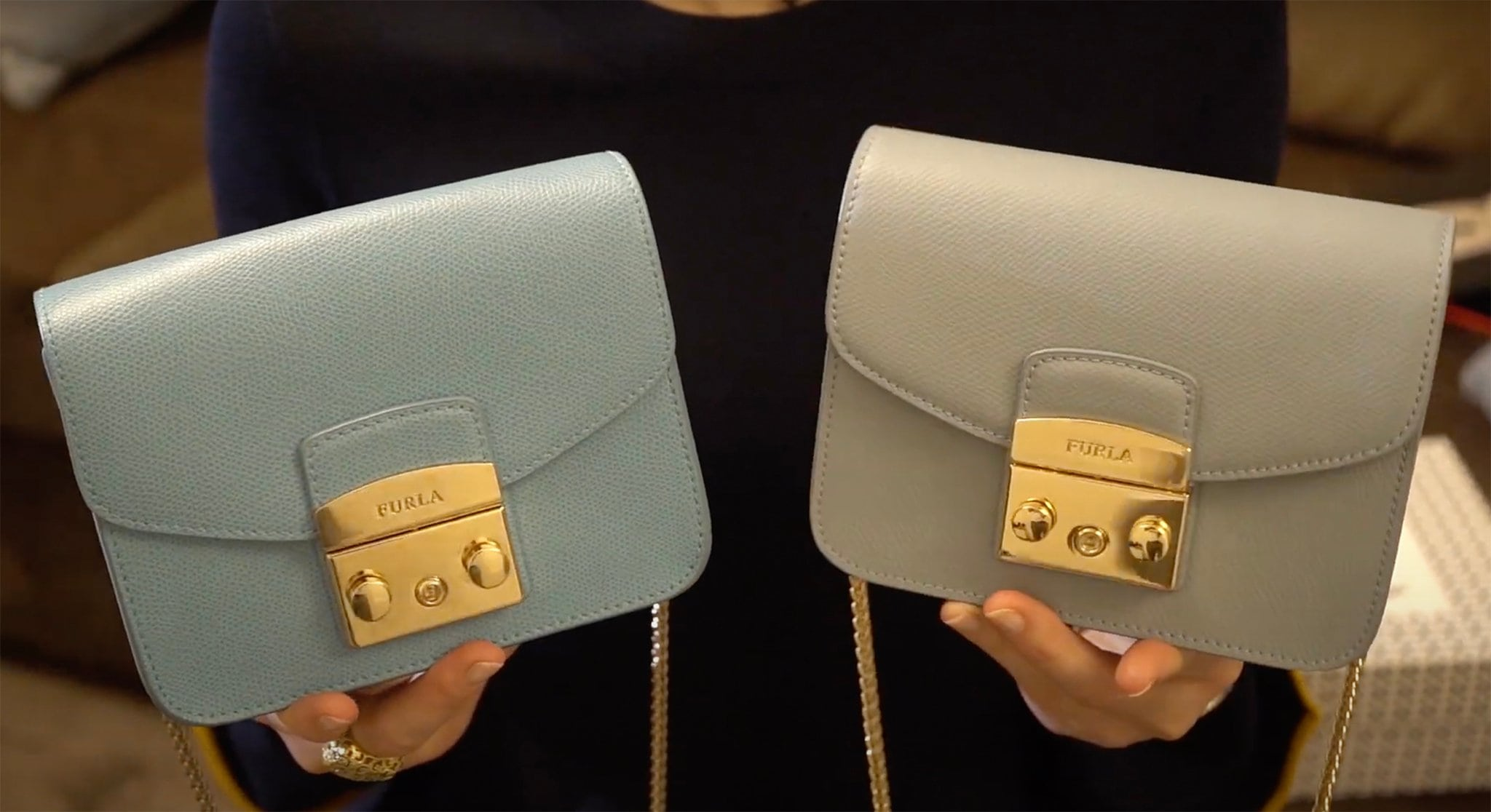 A real Furla bag (left) is crafted from smooth buttery leather, while a fake Furla bag (right) is rather rigid