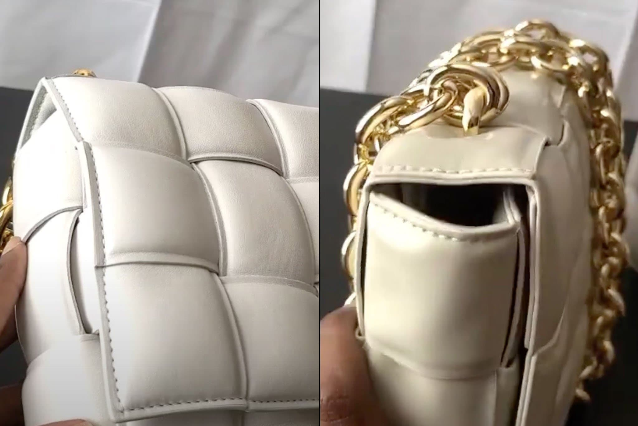 Stitchings on a real Bottega Veneta bag (left) look more neat and seamless compared to the stitchings on a fake Bottega Veneta bag (right)