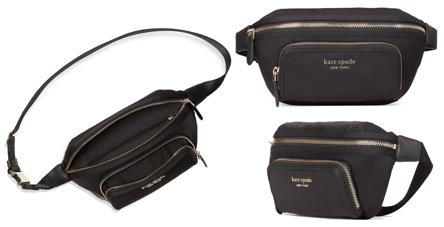 Made of durable nylon, this belt bag is highlighted with Kate Spade New York signature logo at the front zip pocket