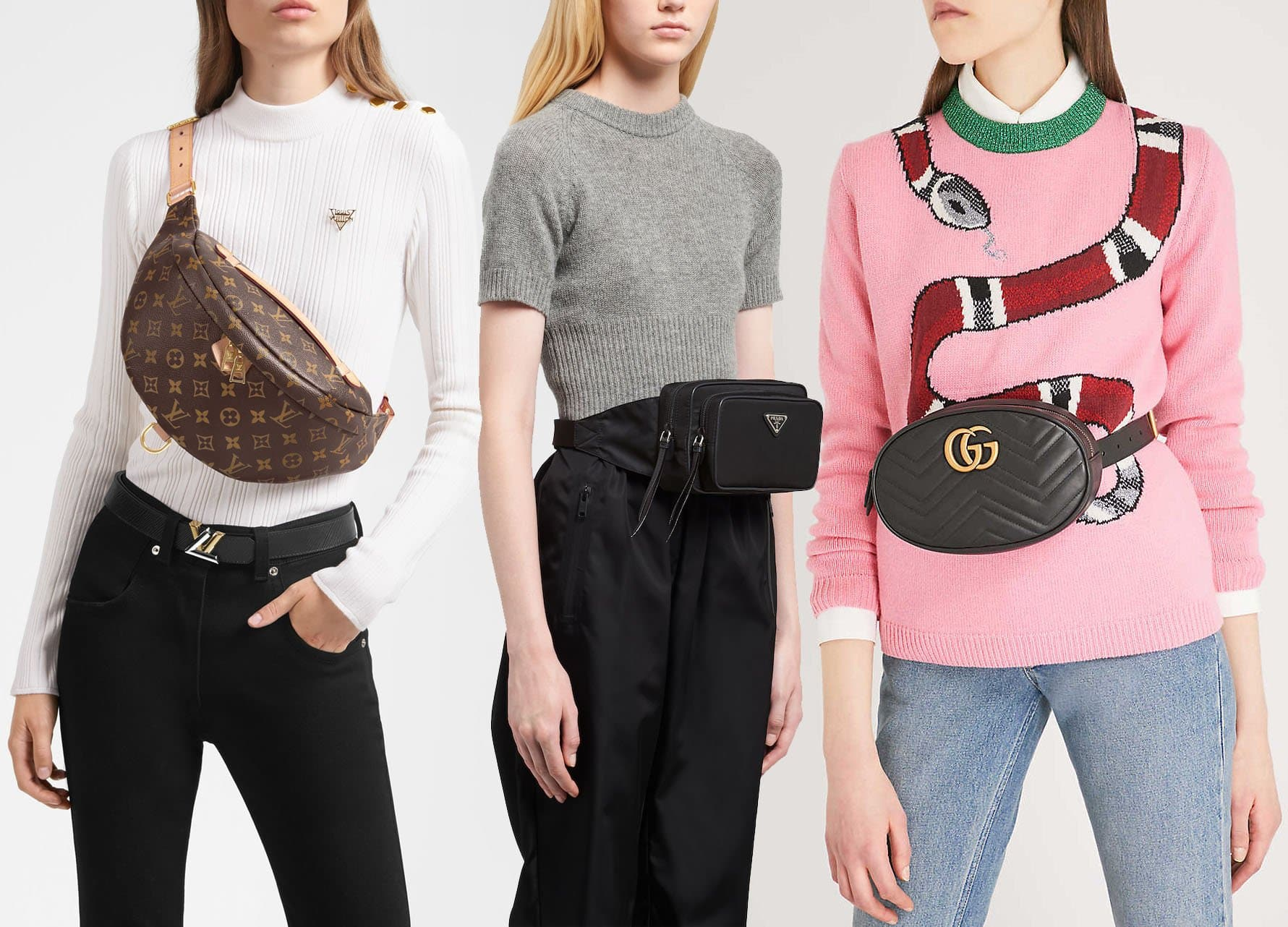 High-fashion brands like Louis Vuitton, Prada, and Gucci introduced new belt bag silhouettes in 2018