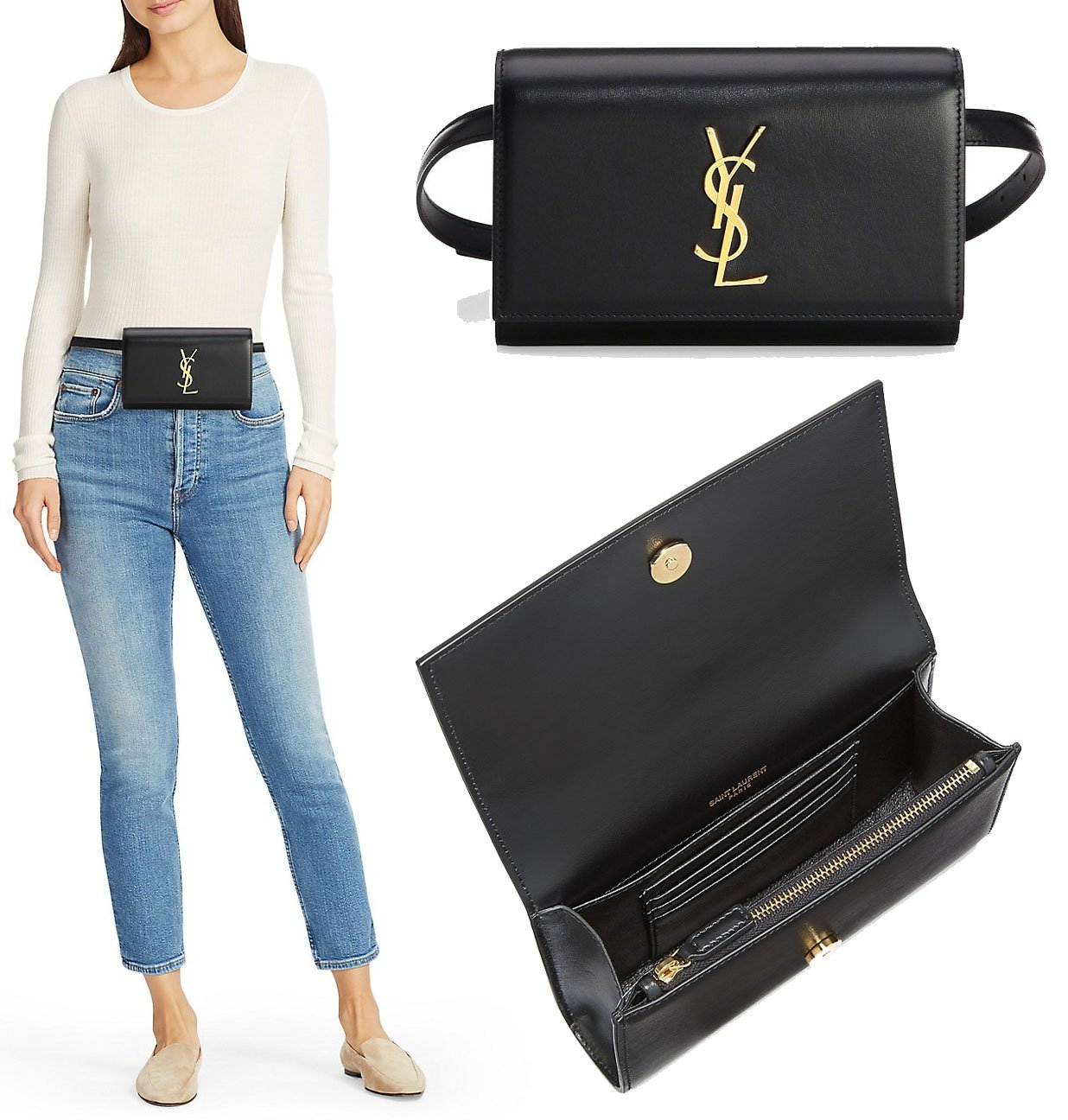A classy, minimalist belt bag made of smooth leather with gold-tone YSL logo on the foldover flap