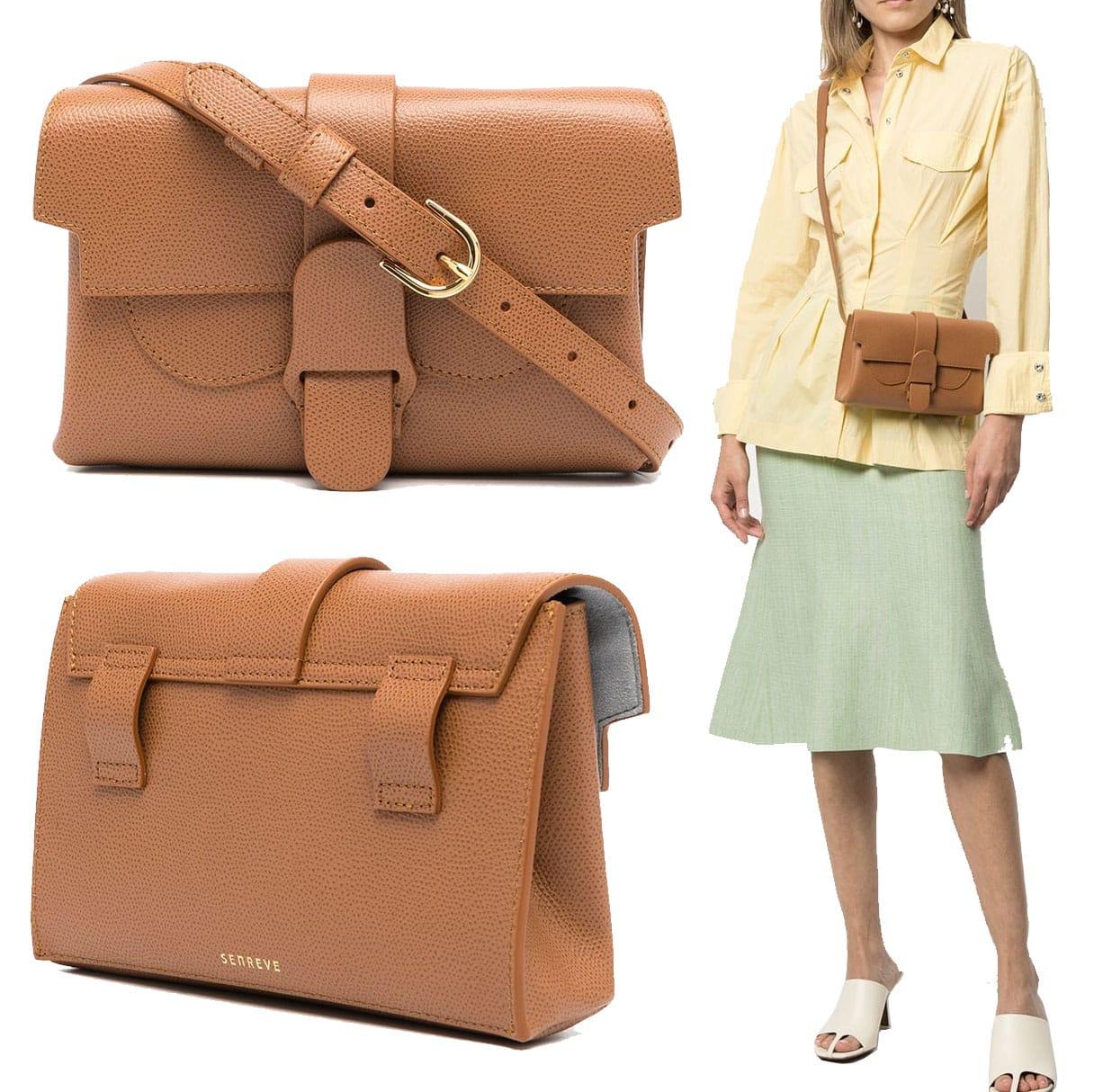 Senreve's Aria belt bag has a minimalist, classic look, featuring an adjustable waist strap and a detachable shoulder strap