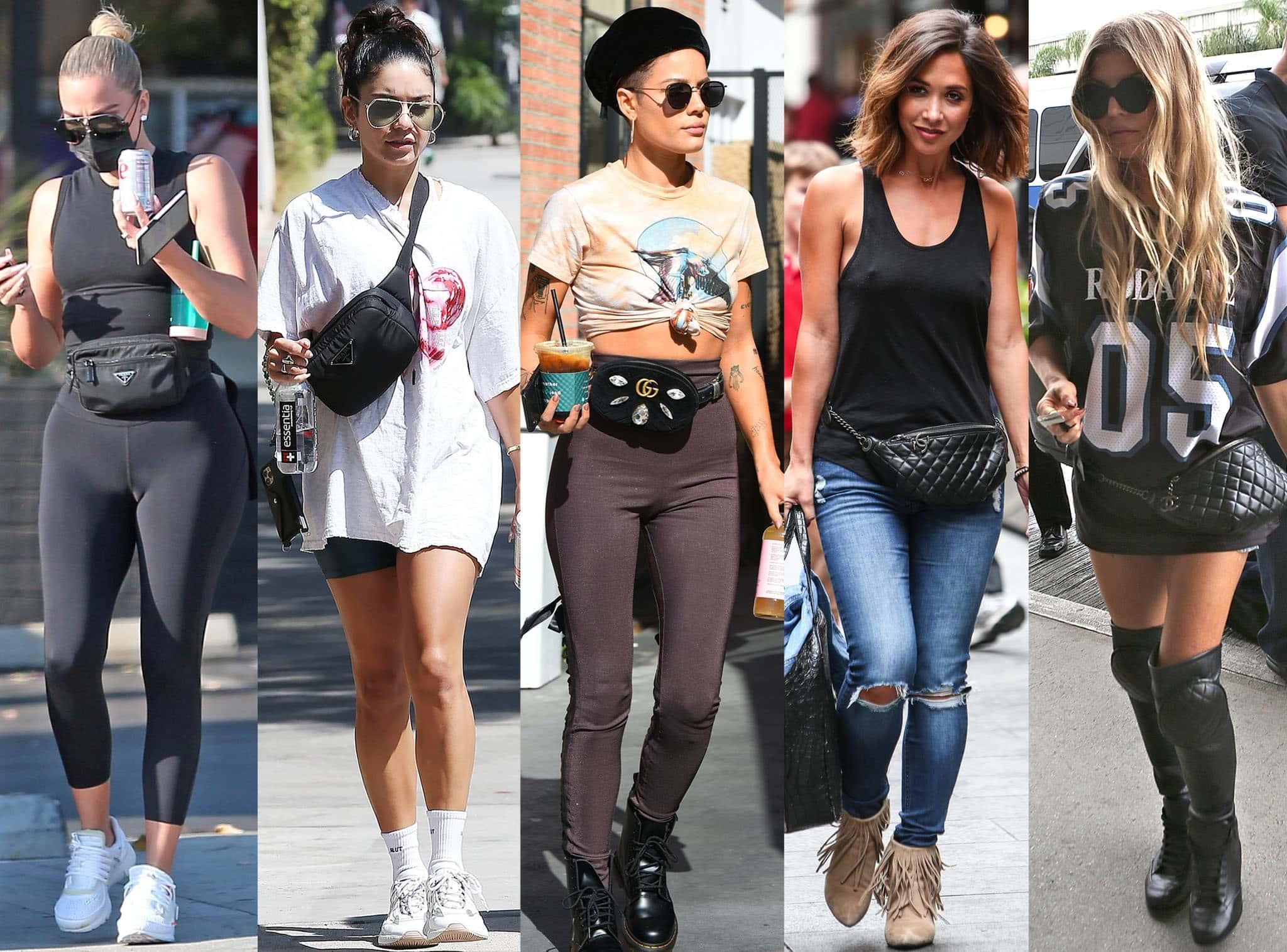 Khloe Kardashian, Vanessa Hudgens, Halsey, Myleene Klass, and Fergie show how to carry a belt bag or a fanny pack