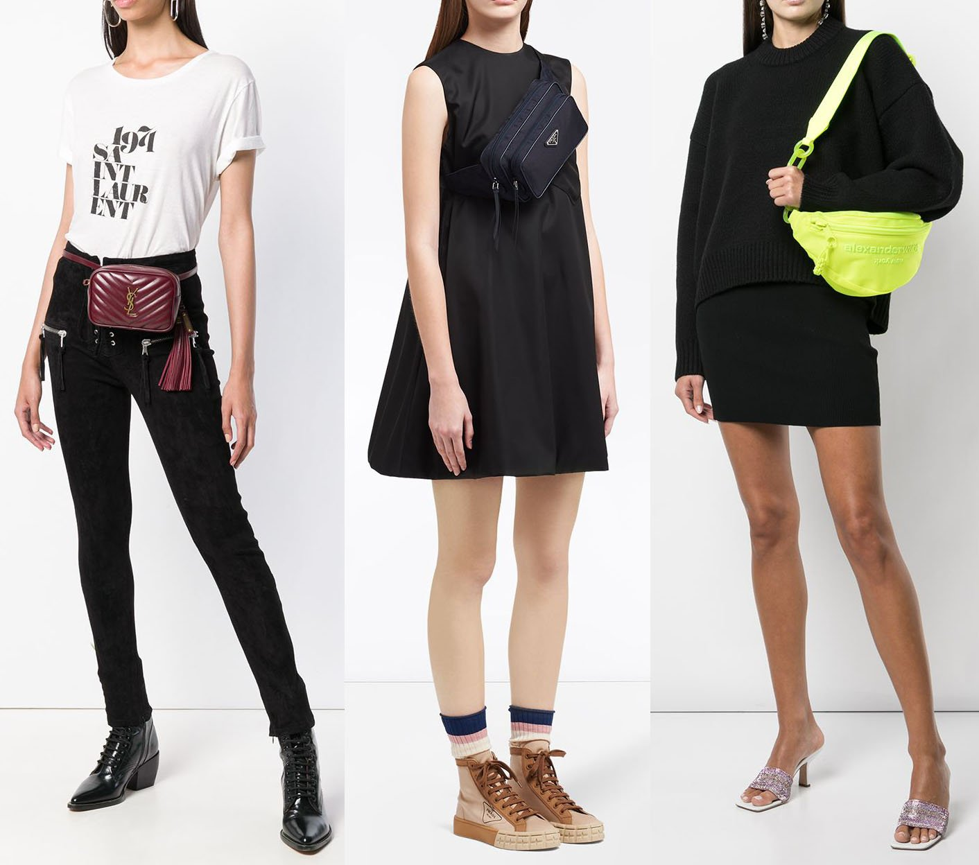 Belt bags can be carried around the waist, across the body, or over the shoulder